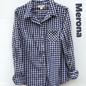 Merona Button Up Front Pocket Gingham Plaid Top